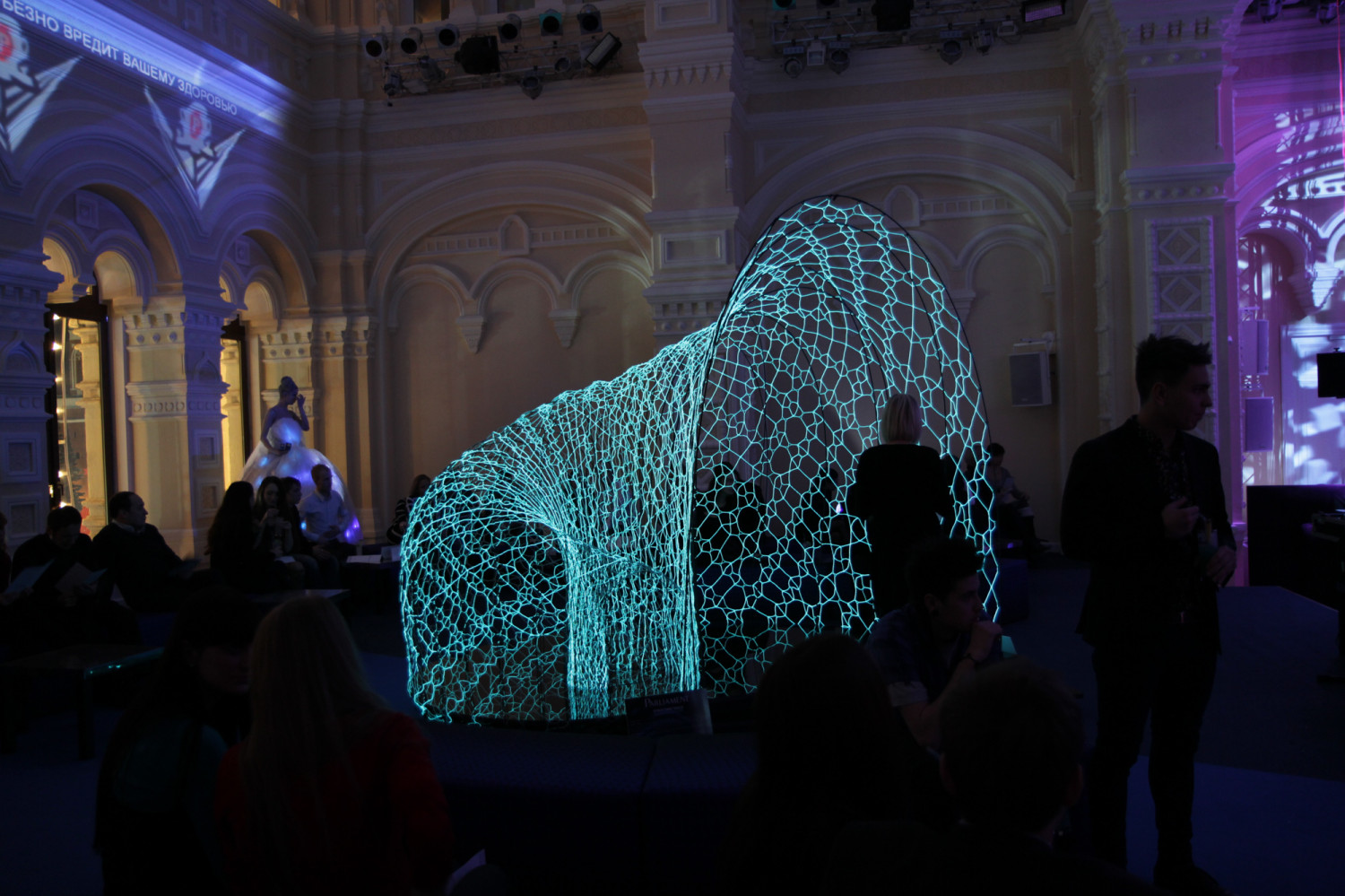 A generative, emergent light and sound environment with a luminous and responsive growth